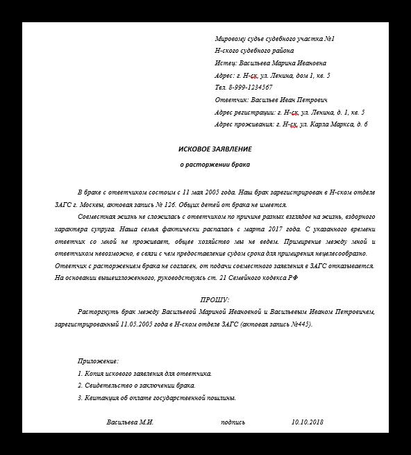 О заявлении на развод: исковый документ о расторжении брака через суд, образец