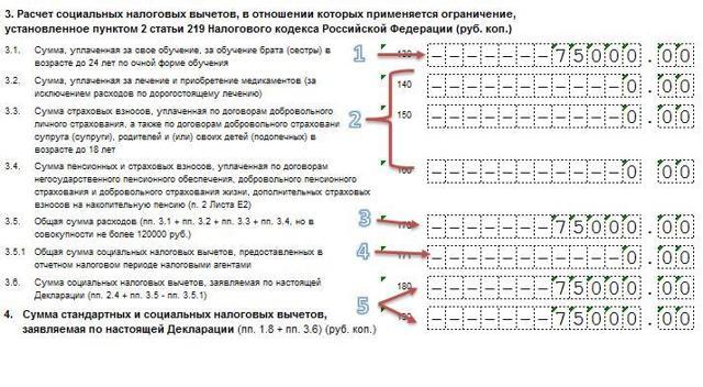 Пример заполнения 3 НДФЛ при возврате за обучение, как выглядит декларация