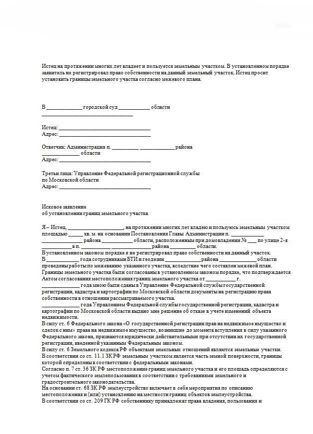 Иски об установлении границ земельных участков: образец искового заявления