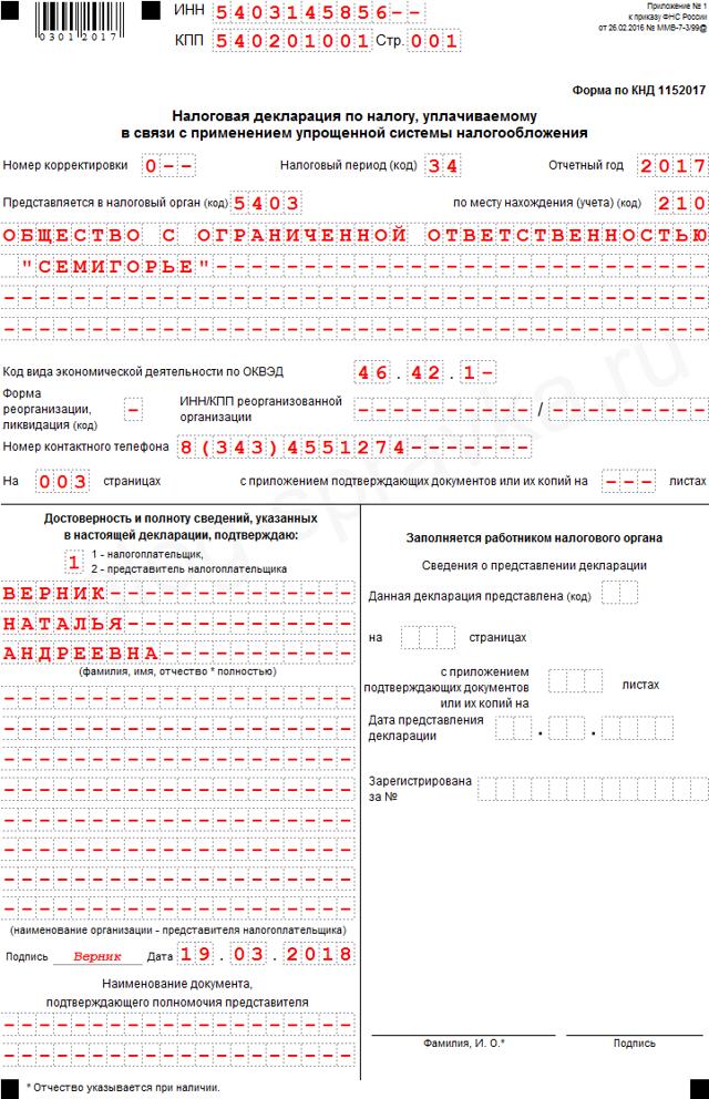 Единая упрощенная налоговая декларация нулевая - образец заполнения для ИП